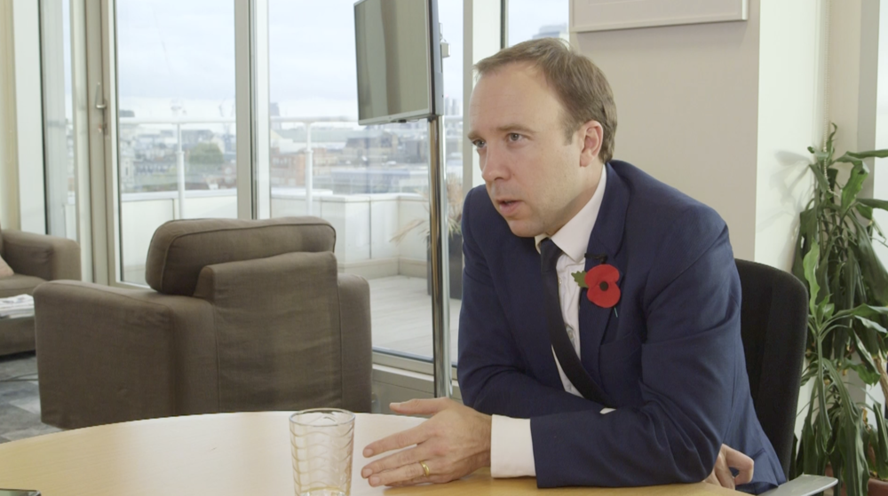 Interviewing Health Secretary Matt Hancock at the Department of Health and Social care in November