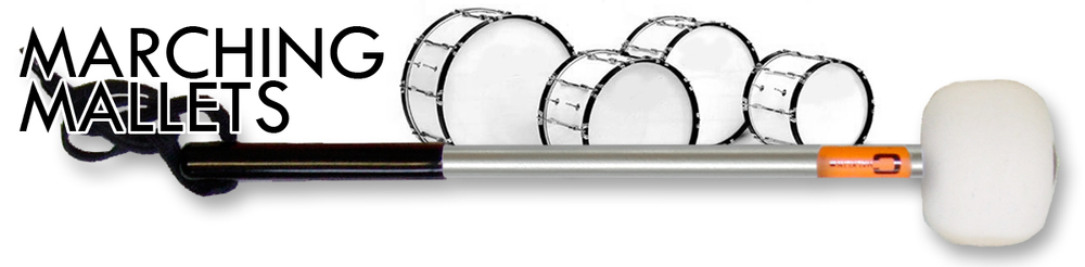A RANGE OF MAPLE, NYLON AND ALUMINIUM SHAFT MARCHING MALLETS IN THE MM RANGE.