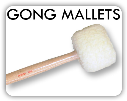 Gong mallets with wooden handles and carefully balanced heads for gongs from 51cm to 84cm diameter.