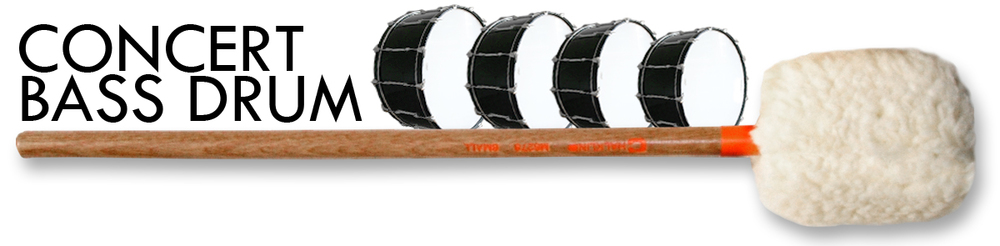 bass drum mallets designed for the concert artist desiring full tonal projection.