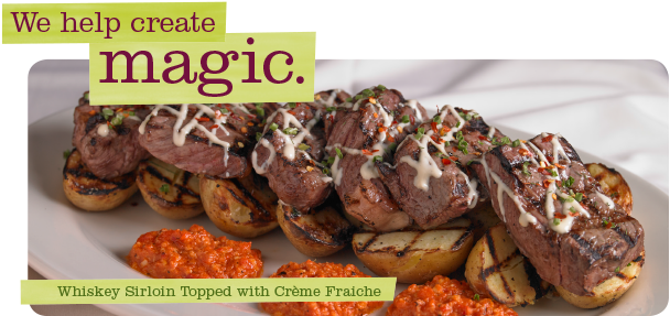 Upstream Catering Whiskey Sirloin Topped with Creme Fraiche