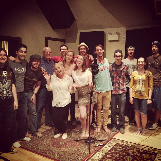 Recording the gang vocals for the song Goodnight.