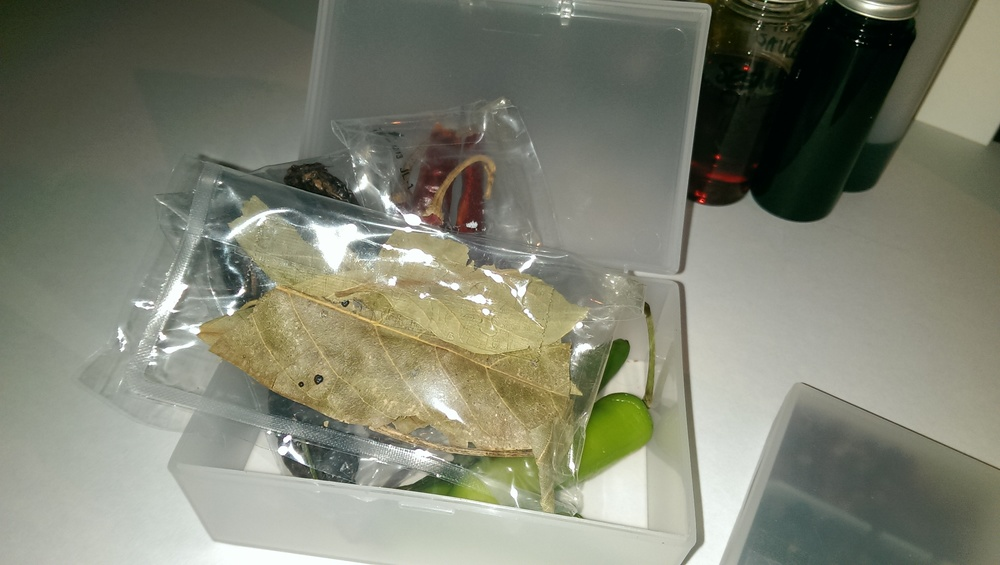 A small box like this works to contain larger whole items. In this case, Mexican chillies and leaves. They are in reusable plastic bags to keep the flavours and smells separate. Chipotle is strong!