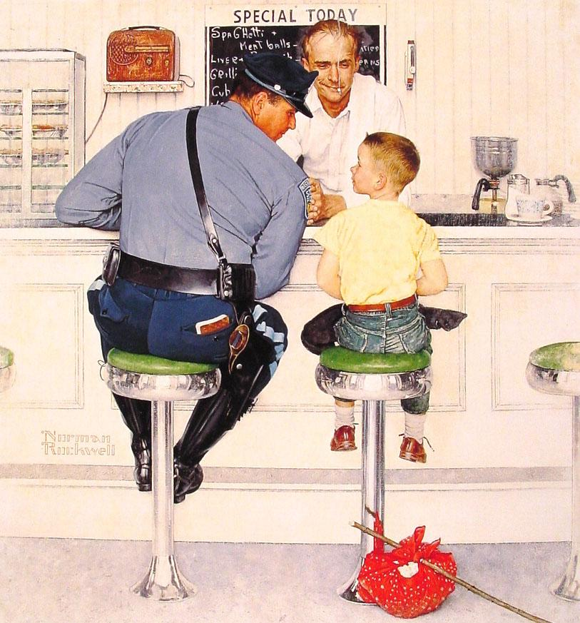 """Norman Rockwell's 1958 Saturday Evening Post cover illustration, """"The Runaway"""""""