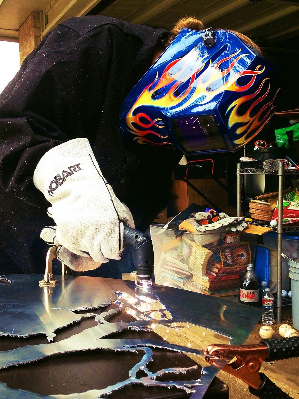 Why yes I do feel like a badass using my Hobart Plasma Cutter!