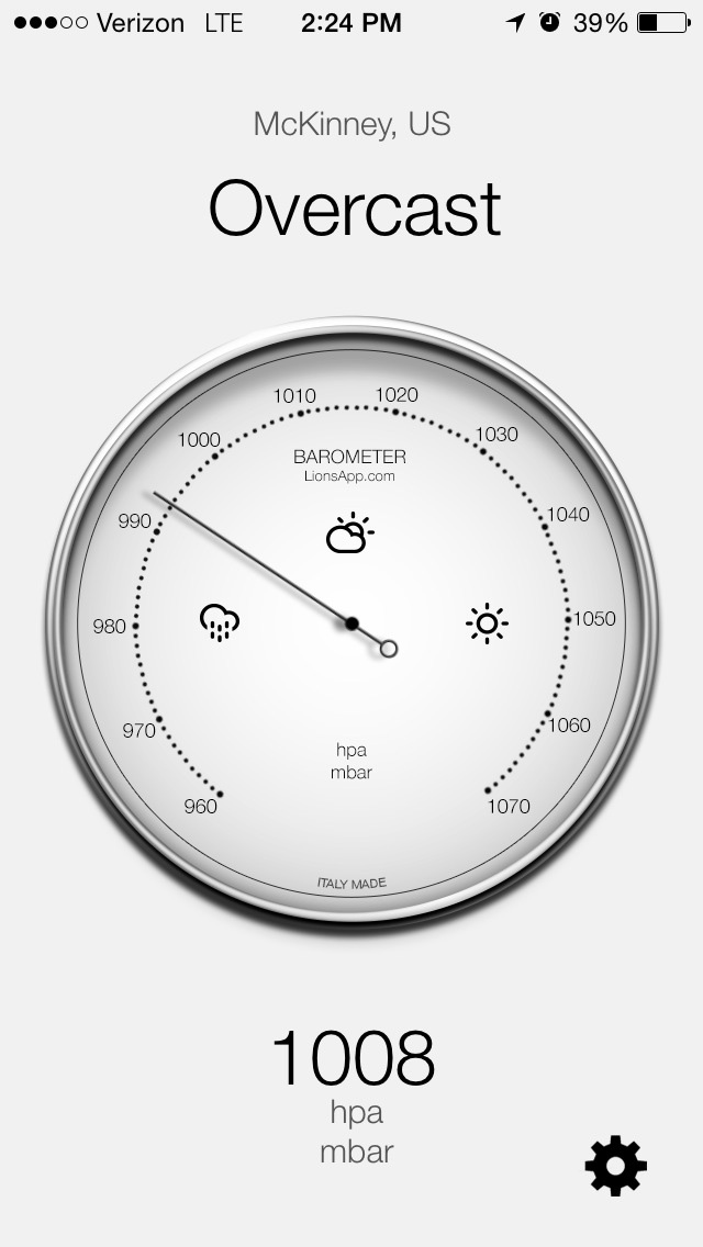 """The Barometer App available in the iTunes app store for iPhone, iPad and Mac helps you find your """"comfort window"""" in dealing with barometric pressure."""
