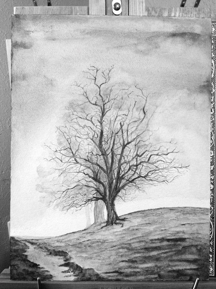"""""""Ballinger"""" Artgraf Graphite Watercolor on Arches 140lb Cold Press Watercolor Paper"""