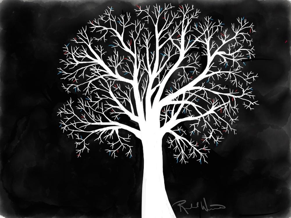 moon's up tree illustration by rachel winner