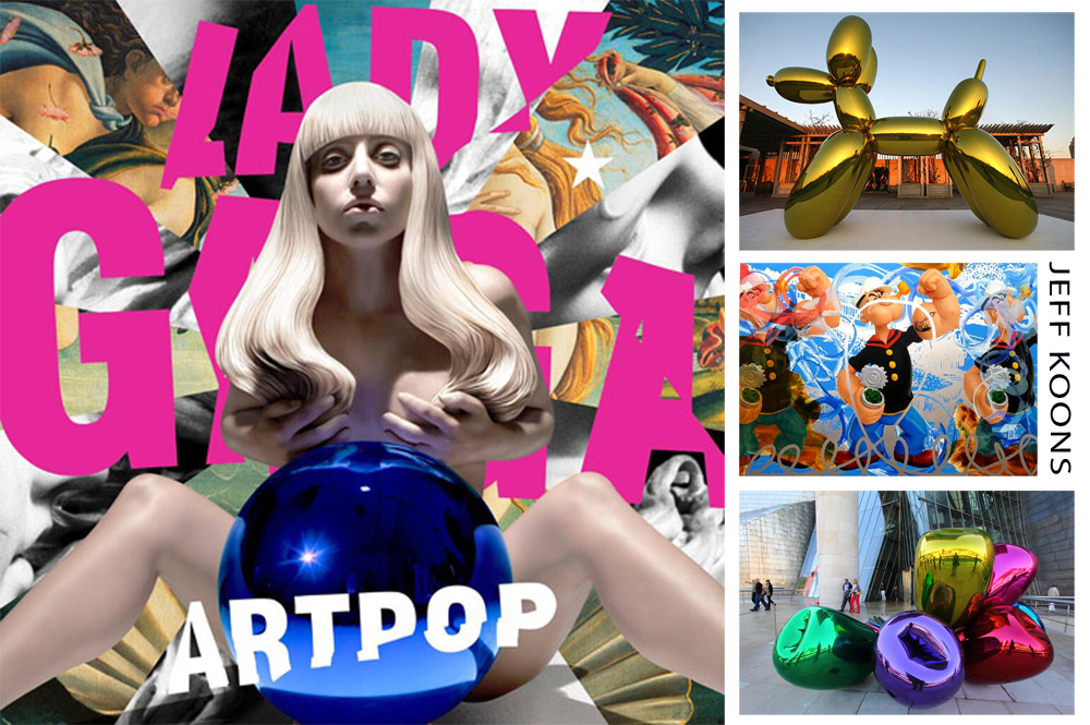 Left: Lady Gaga's ArtPop cover RIght: Koons' Balloon Dog, Popeye Series, Tulips sculpture
