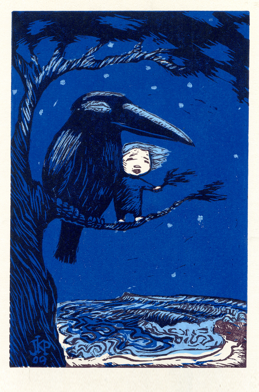 Crow, Boy, Ocean / 3 color linoleum block print