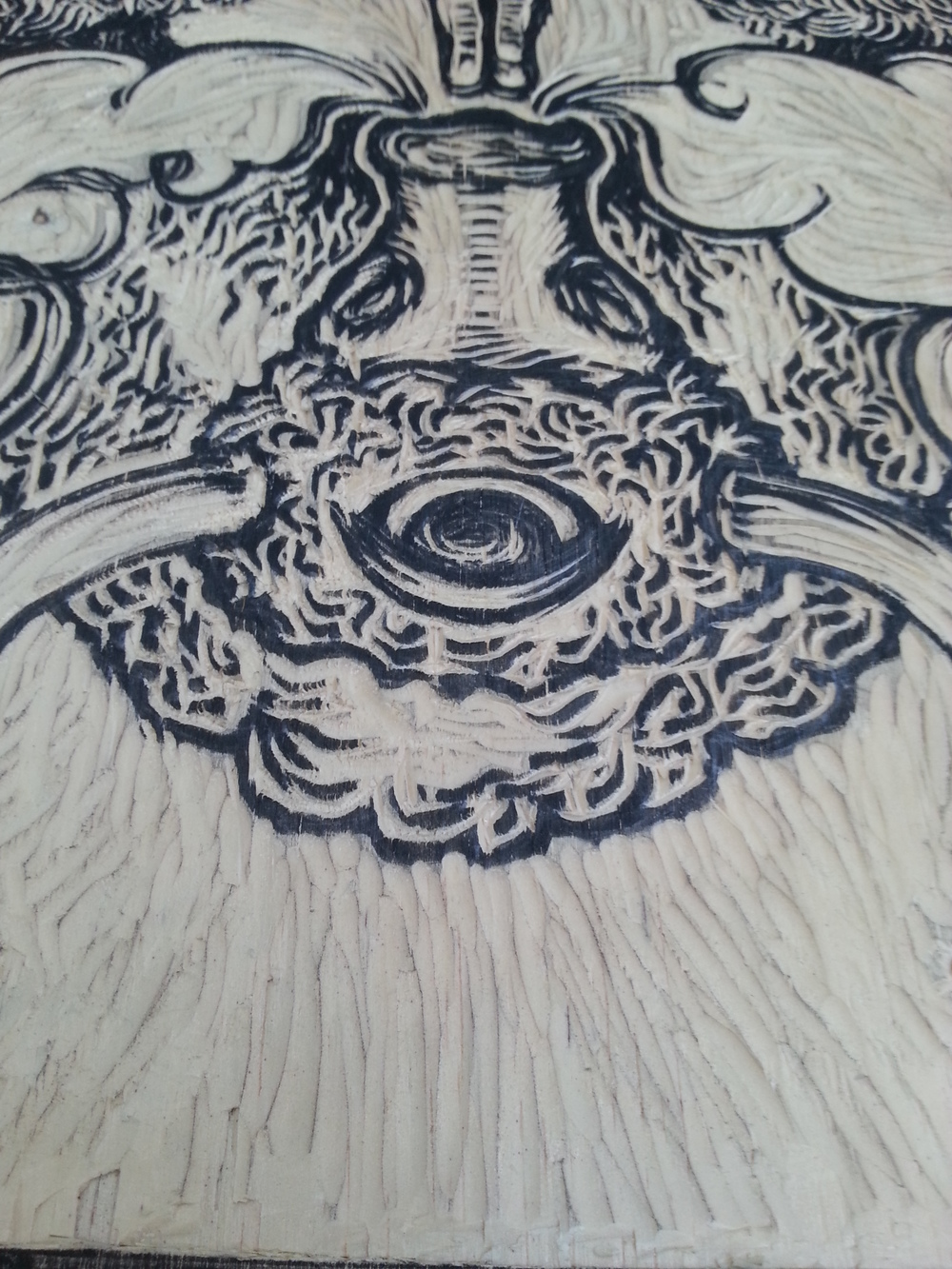 wood cut in progress...