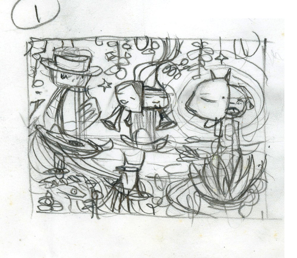 """Concept sketch for """"Musical Combo"""" - Little Chihuahua Restaurant, Valencia Street, SF, CA"""