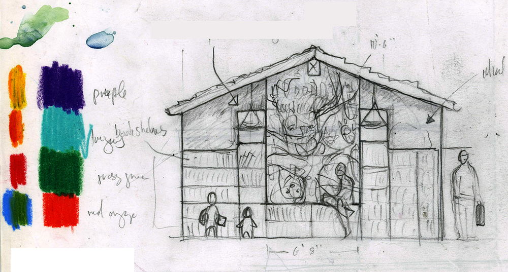 Concept sketch for the Palo Alto Children's Library Mural.
