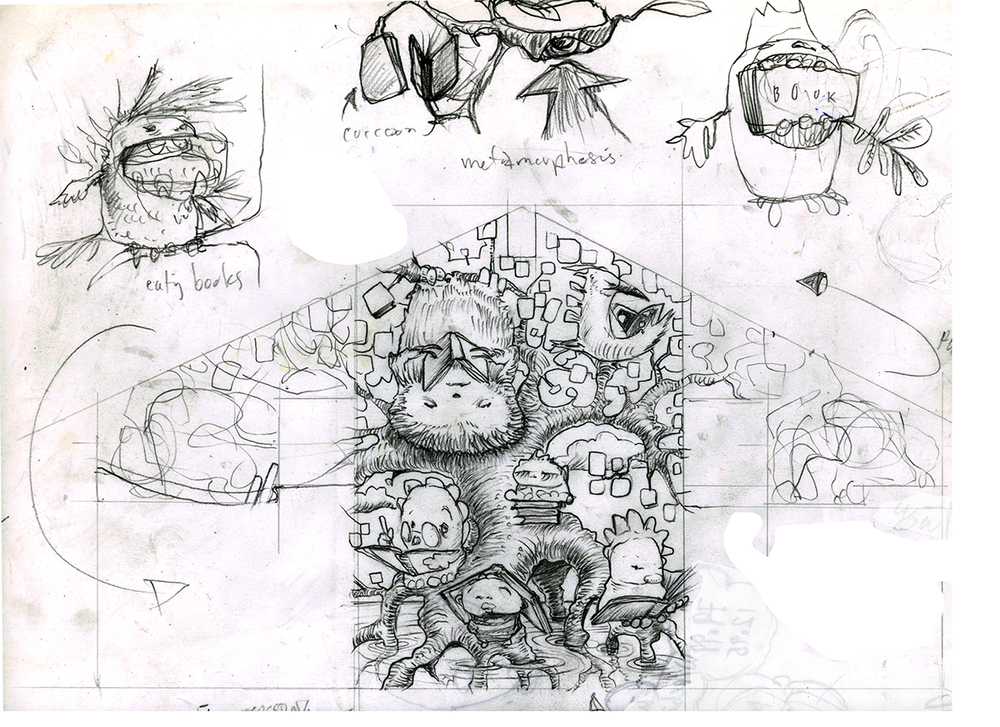 Concept sketch for PA children's library mural.