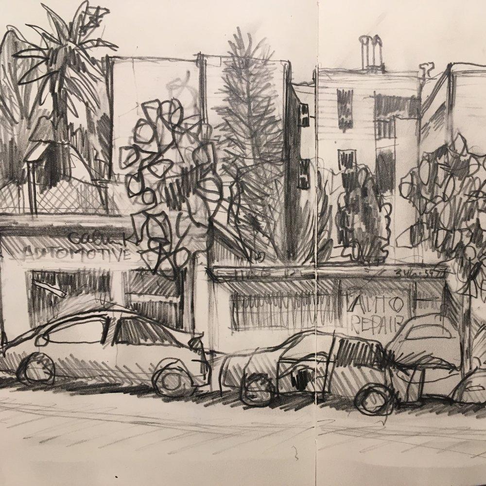 Divisadero Street study, pencil | sketchbook