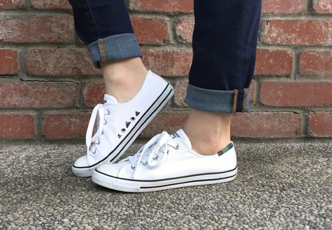 5c6f50ebff43 Our San Francisco blogger friend Meesh from Right Where I Left Off shared  this creative DIY with us. She transformed her simple white Dainty Chucks  with ...