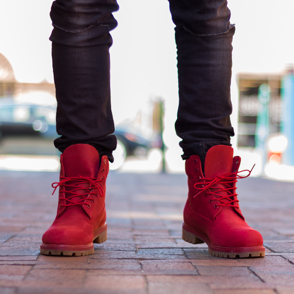 Red Flat Lace Up Shoes