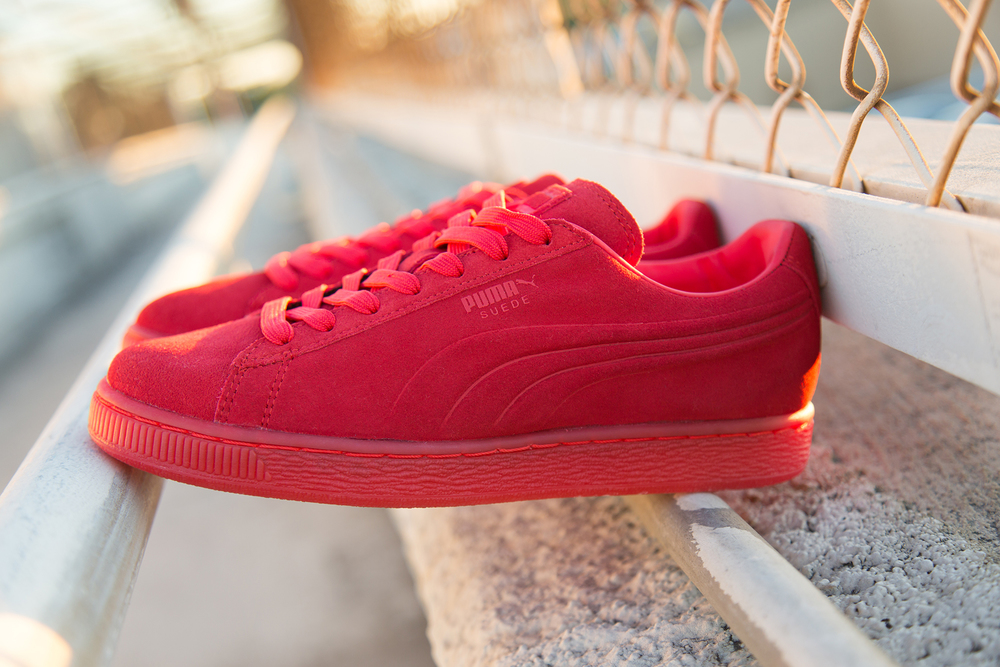 291b26301428f4 The iconic Puma Suede is updated in one hue from toe to sole with the  Embossed Iced pack.