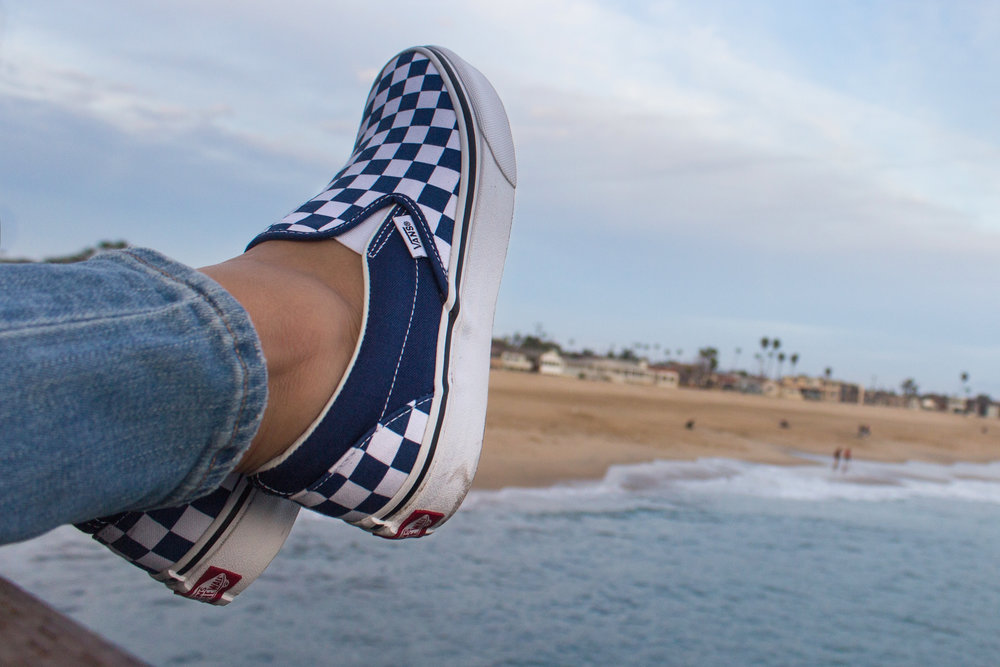 Vans Classic Checkerboard Slip On in Estate Blue