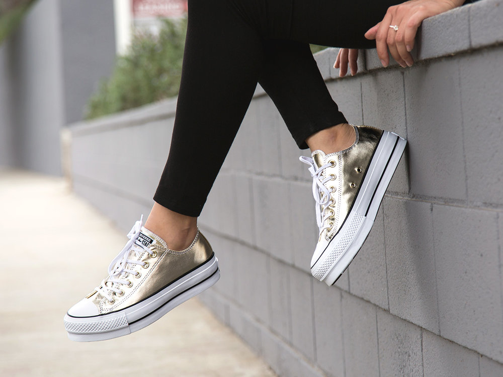 5 - Converse Chuck Taylor All Star Platform offers a lift in metallic gold.