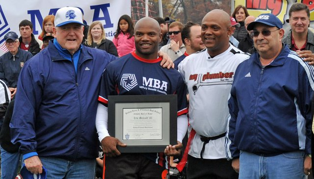 Metcalf is pictured above before a charity game against the Wounded Warrior Amputee Football Team when he was inducted into the O'Connell Hall of Fame two years ago. (U.S. Army photo)