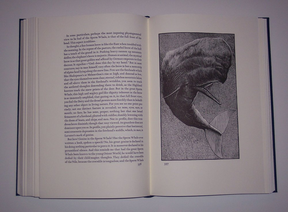 Barry Moser (1940 - ), illustrator. Herman Melville: Moby Dick, Deluxe edition of 750 copies published by the University of California Press, 1981. Fine condition in a near-fine slip case with minimal shelf wear. $750