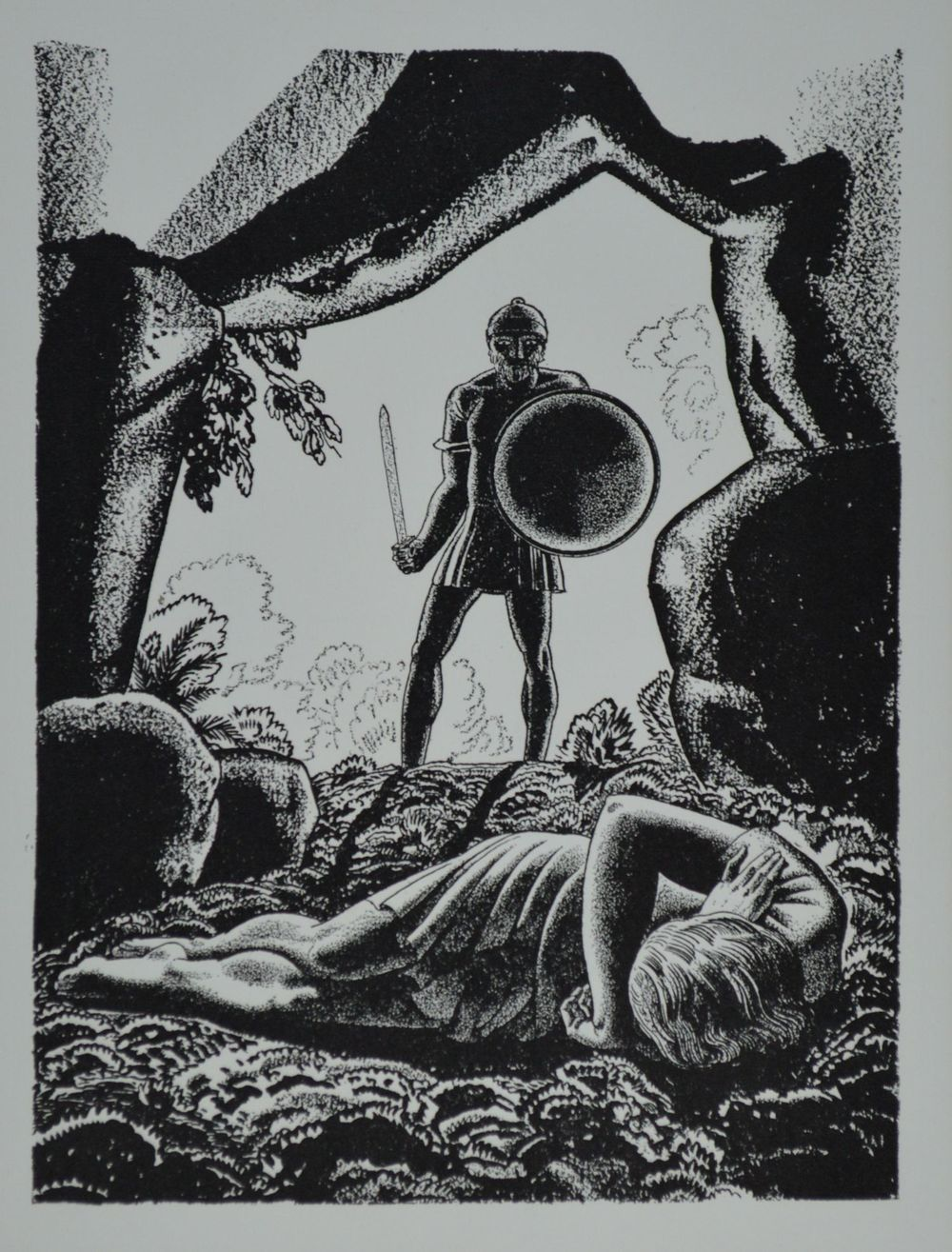 Rockwell Kent (1882 - 1971) Lithograph Illustration for Cymbeline from Forty Drawings Done by Rockwell Kent to Illustrate the Works of William Shakespeare, Garden City, New York, Doubleday, 1936.  A total edition of 1,000 portfolios was printed. This print has been removed from its original acidic mount, cleaned, and matted using archival materials. Very good condition. $40
