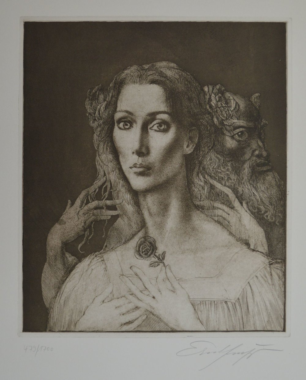"Ernst Fuchs (1930 - 2015):  Pan verführt eine junge Frau   Etching and aquatint, ca. 1975; edition of 1700. Image size 12-1/8"" x 14-3/8""; sheet size 19"" x 24-5/8"". Numbered 479/1700 and signed in pencil by the artist. A nuanced impression, all tones and fine details beautifully printed. Fine.   $825"