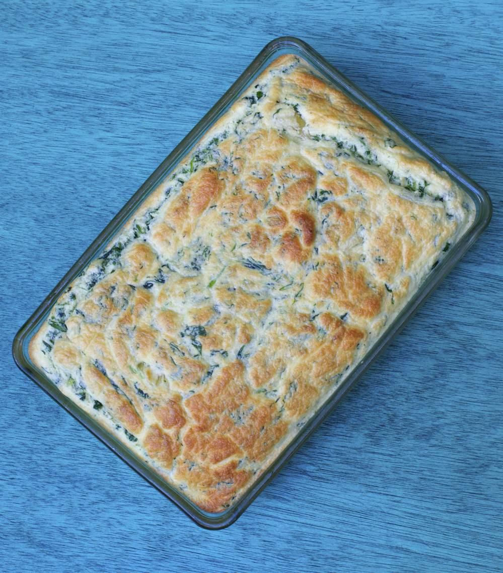 Spinaziesoufflé met pasta en kaas