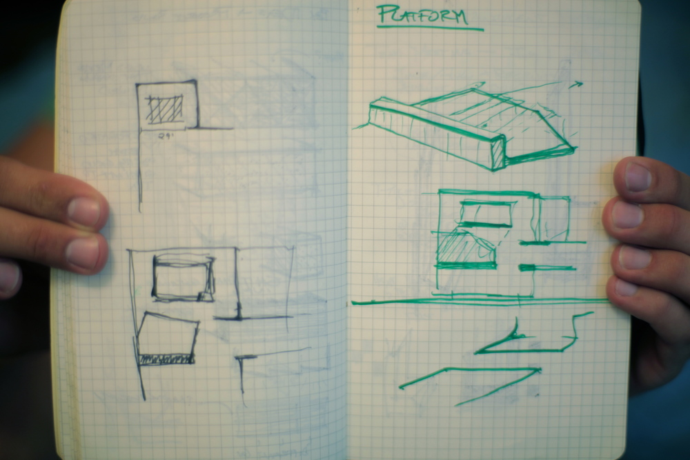 Pictured: Initial sketches for the build out.