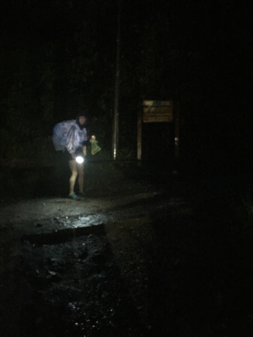 Last day of trek essentials: poncho, flashlight, and motivation.