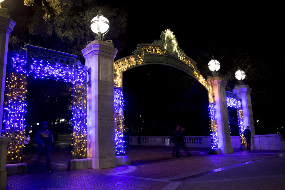 Sather Gate decorated in lights for Big Game week posted on the ASUC Student Union social media.