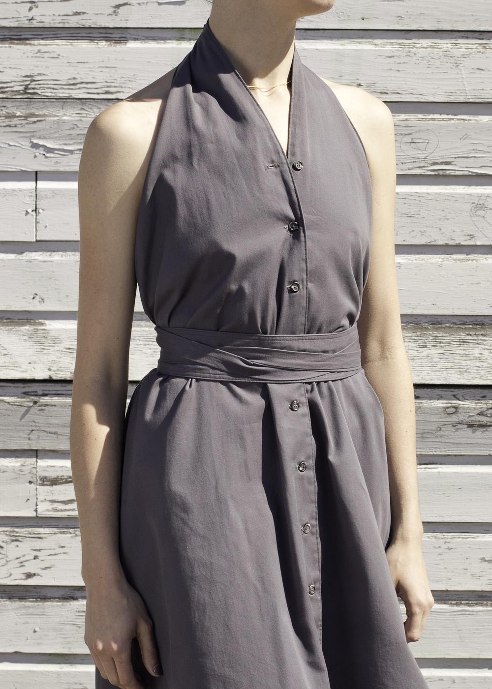 grey halter dress