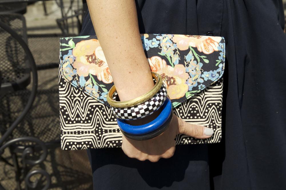 clutch and colorful bangles