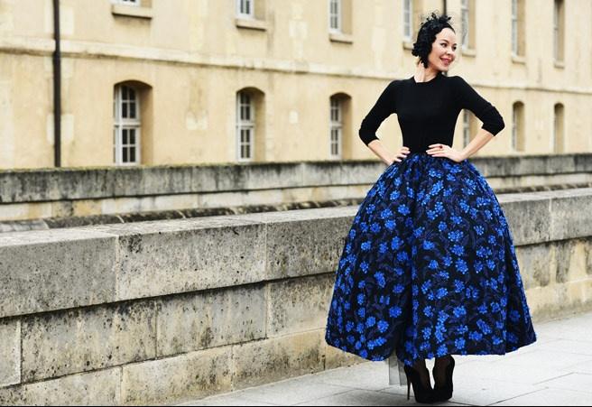 Ulyana Sergeenko blue skirt