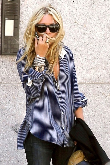 mary kate olsen striped button down shirt
