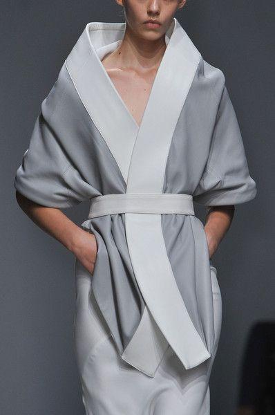 grey and white kimono