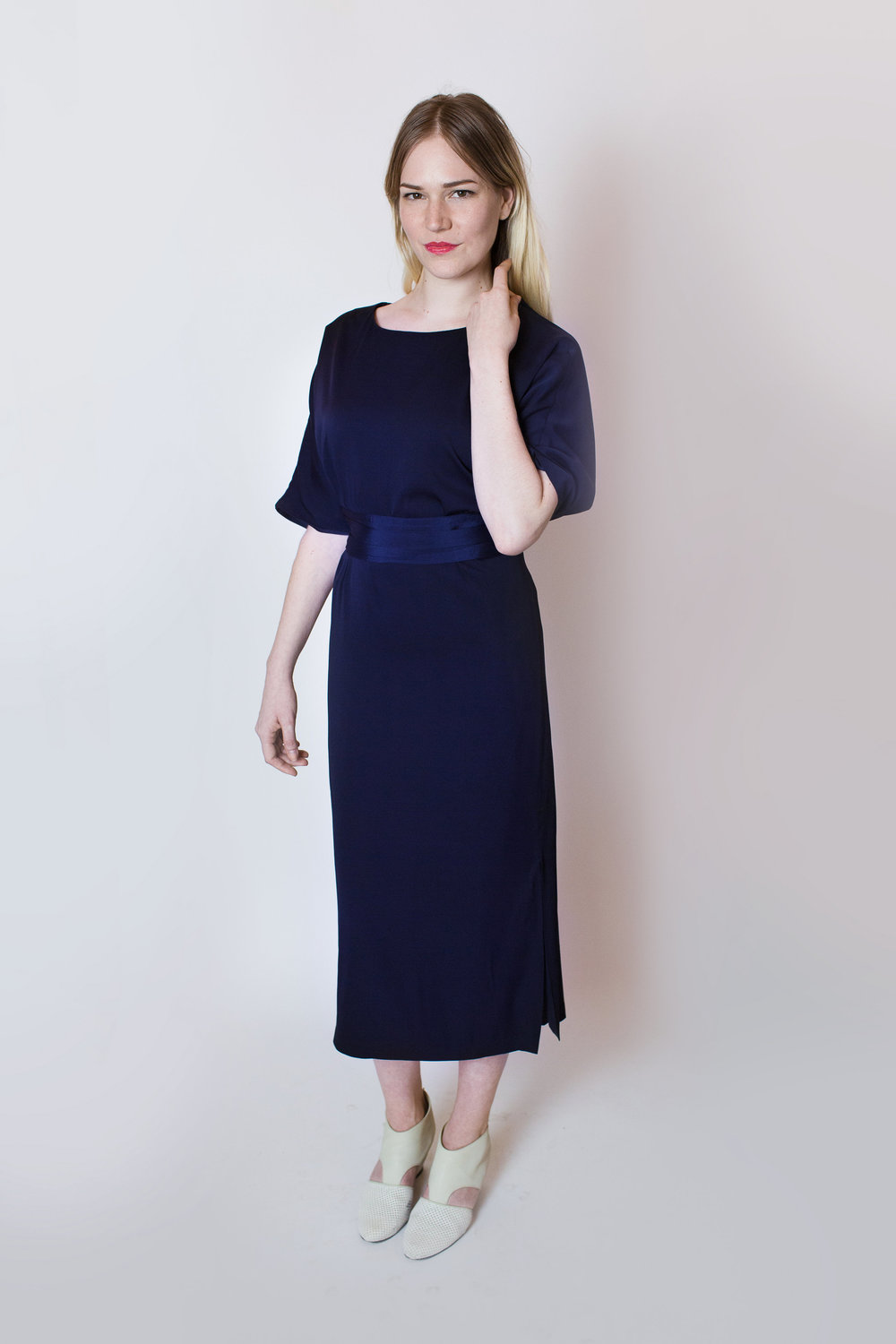 April Pride blue silk dress