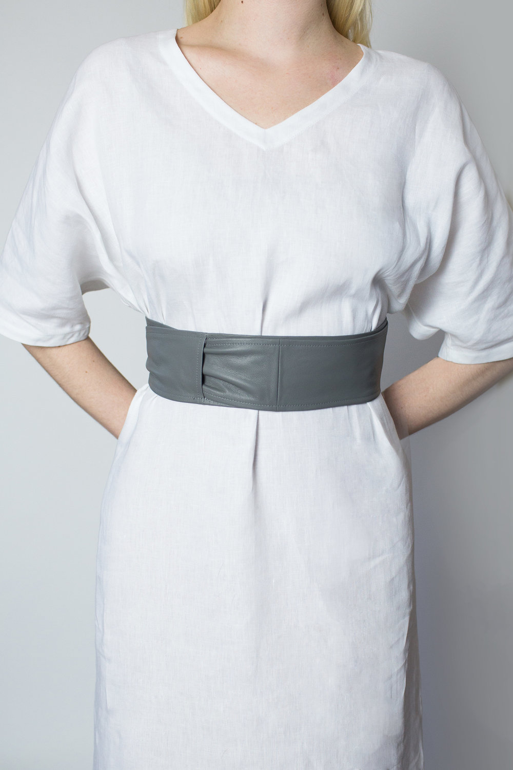 April Pride grey obi belt