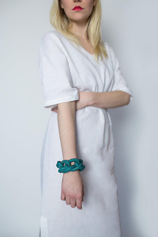 Rachel Ravitch teal knot bracelet