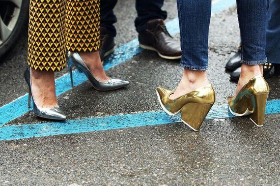 Celine metallic gold and silver heels