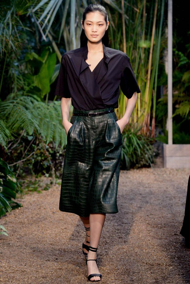 green belted crocodile skirt