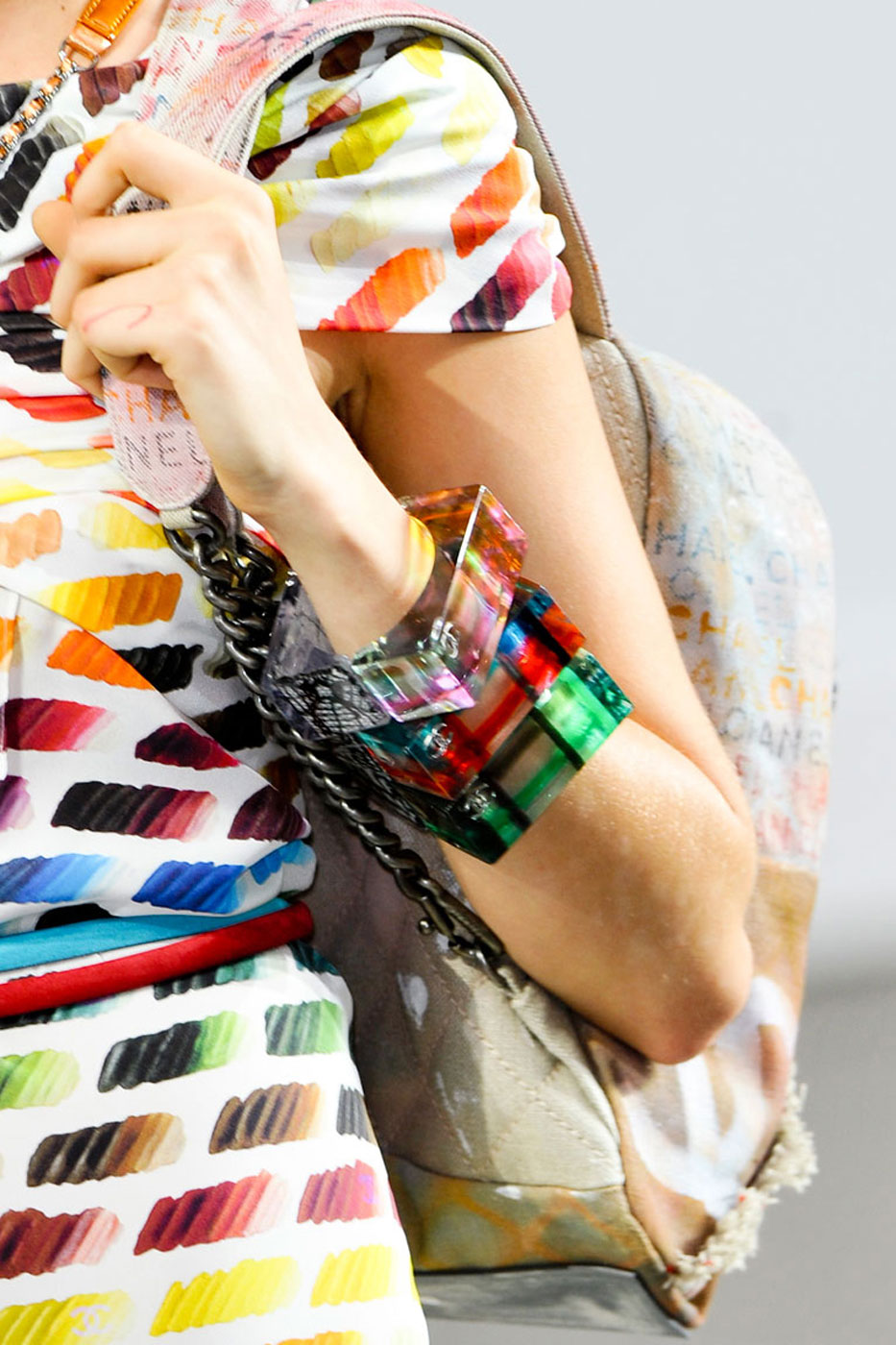 Chanel colorful stacked bangles