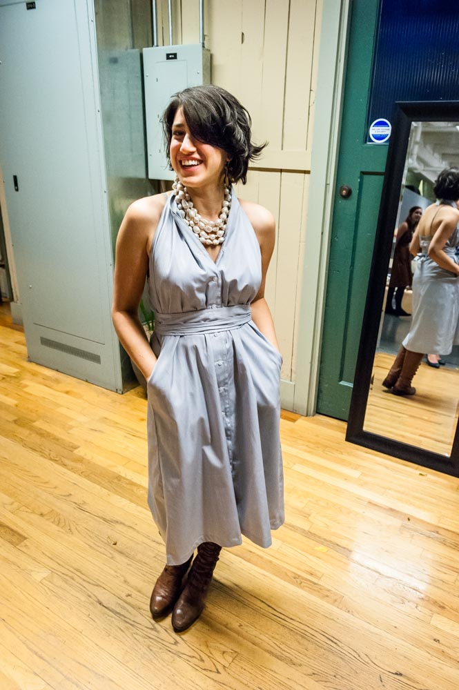 Tamara in THE DRESS / blue Swiss shirting. One-of-a-kind. Seattle 2013