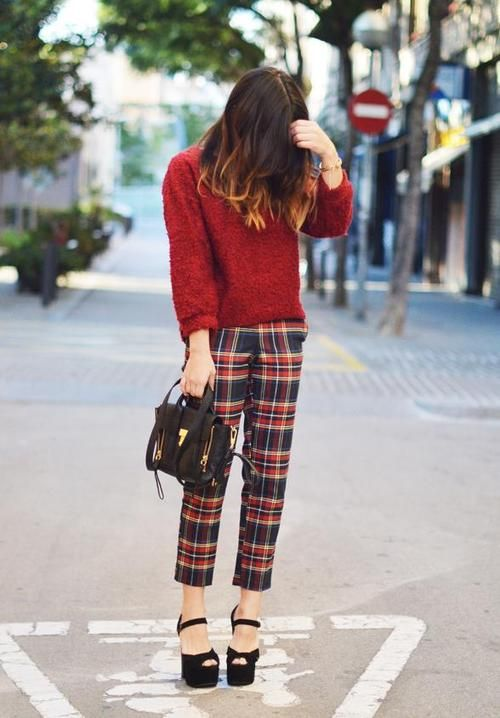 Red Scottish Tartan Pants