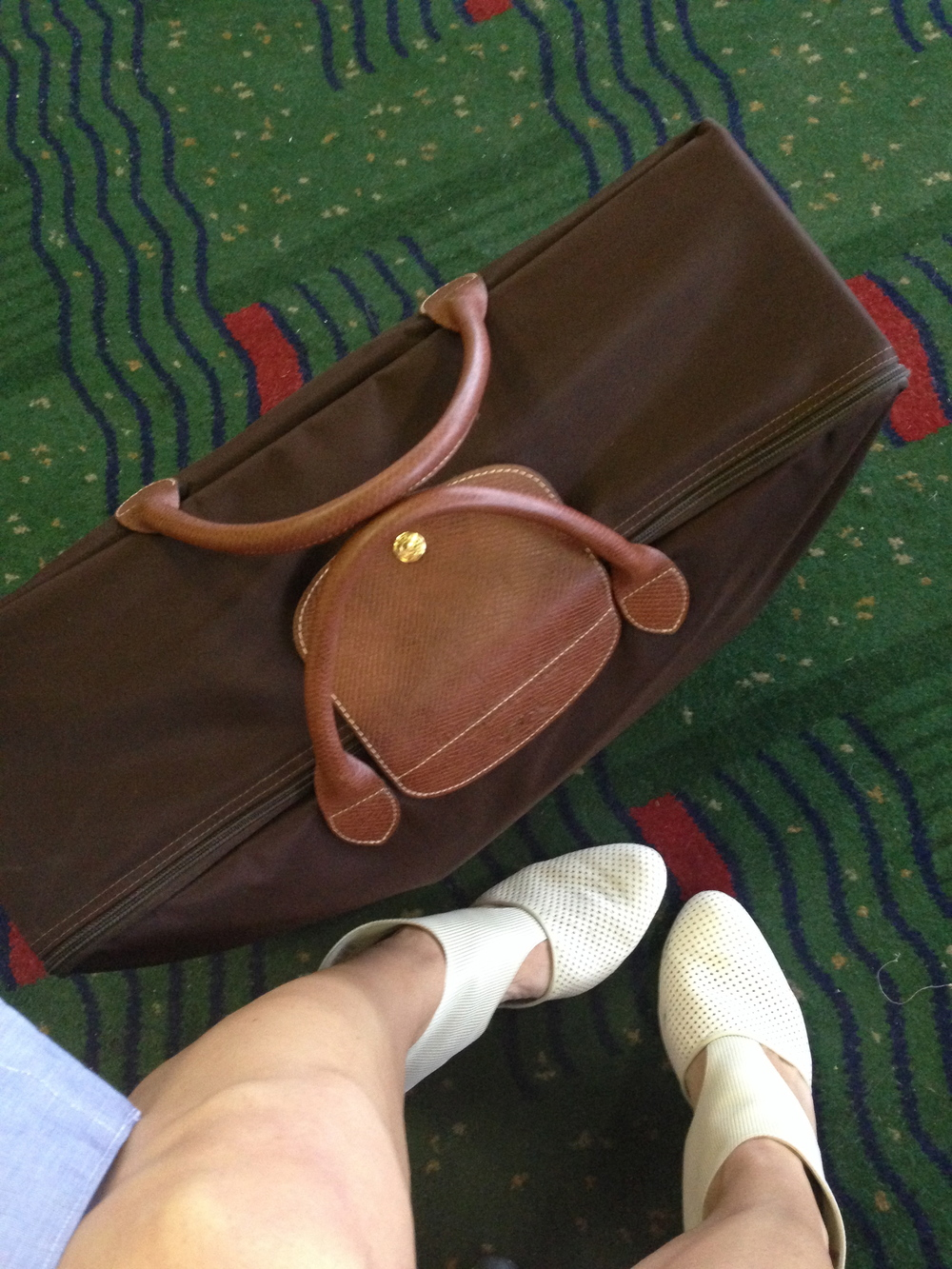 Longchamp chocolate suitcase