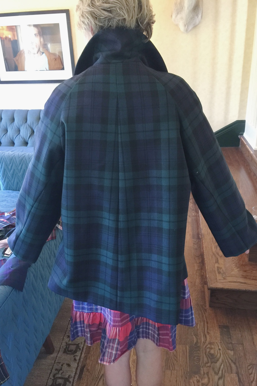 Tiffany in THE COAT/ Black Watch tartan. Made-to-order. Seattle 2015