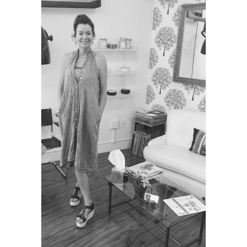 Vivian in THE DRESS /  gray linen, sans belt. One-of-a-kind. Seattle 2015
