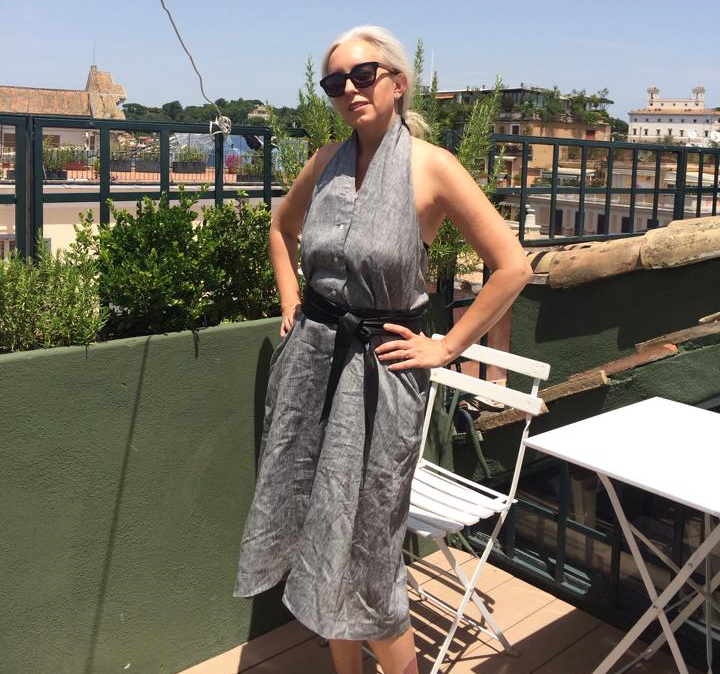 Jennifer in THE DRESS / gray linen & THE BELT / black.  Limited to edition of 4. Rome 2014