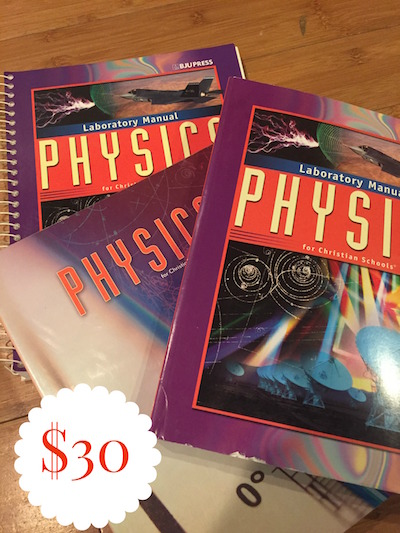 BJU PHYSICS TEXT, LAB MANUAL, &  - $30
